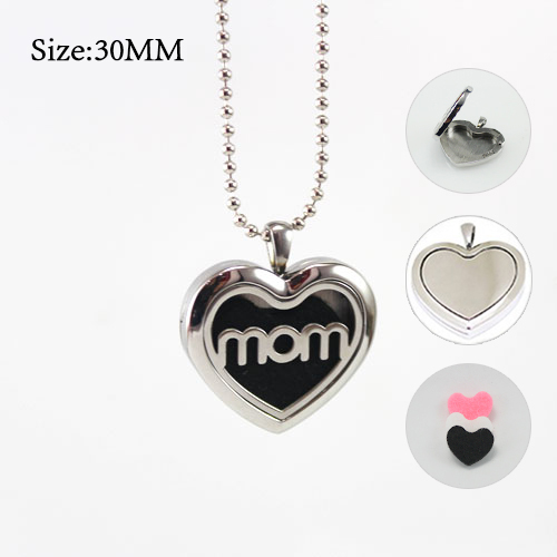 1PC 30x30MM MOM Heart Diffuser Locket Necklace with 3 color felt diffuser pad With chain as gift essential oil locket necklace