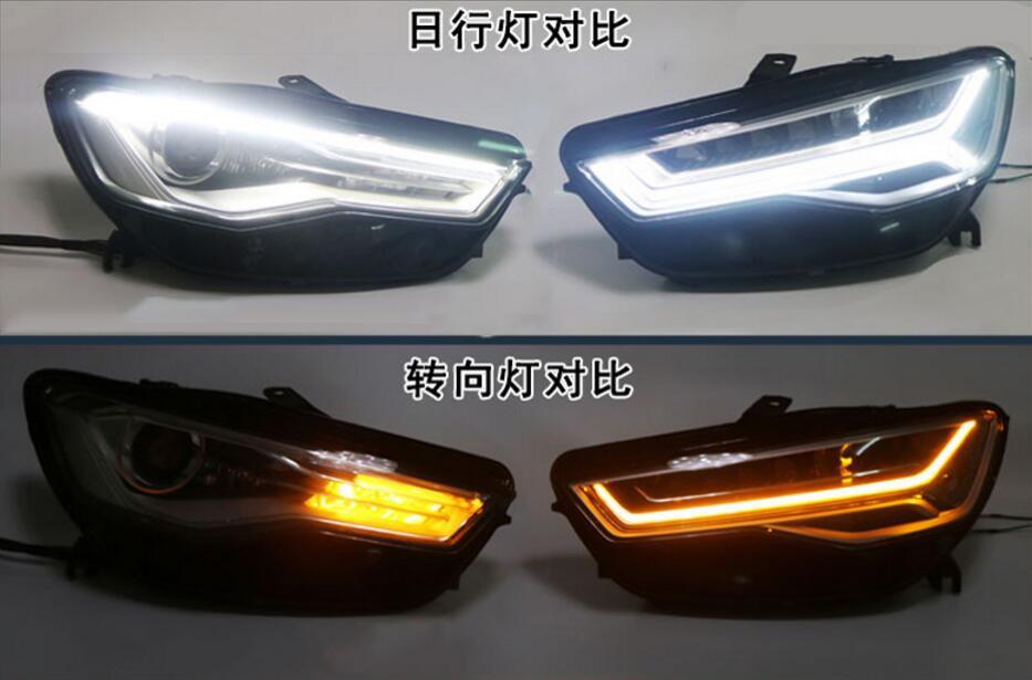 Video display,Bumper lamp for 2Pcs LED Headlights A6L 2012 2013 2014 2015 2016 2017 car lights LED Daytime Running Lights