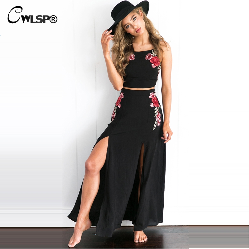 CWLSP Summer Split Two piece set Beach Embroidery Roses Sexy Sleevelesss Tie up Set Women Maix Dress 2 piece set women QL2961