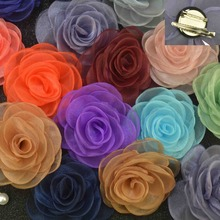 100 pcslot , 3.15″ Sheer Organza Rose Flower with Alligator Clip Brooch Pin Backings