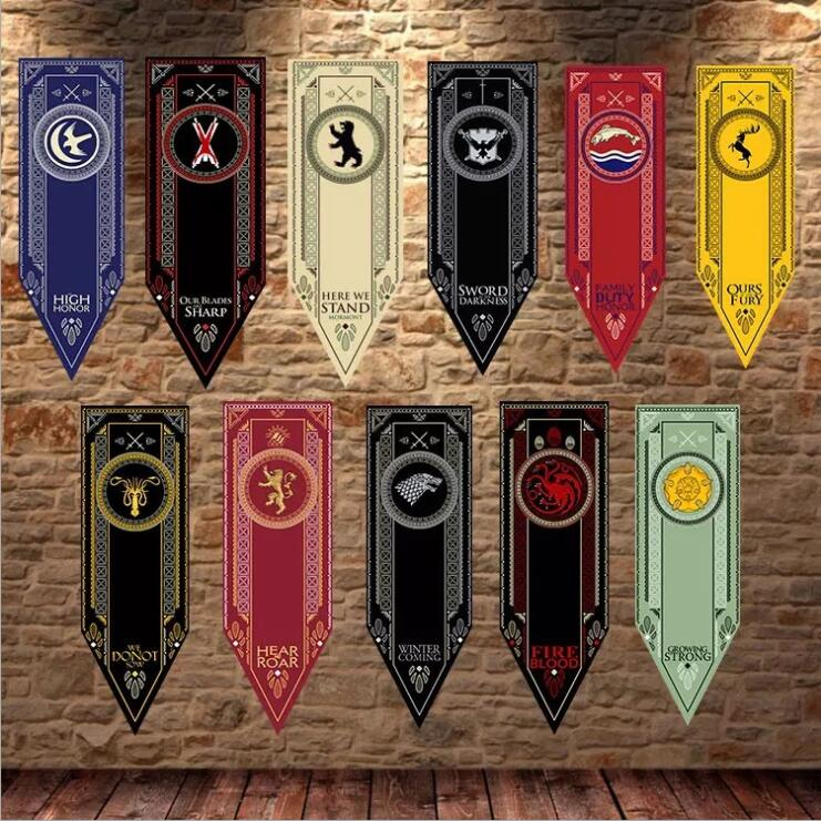 Game Of Thrones Stark Flag Families Flag Home Decor Wolf Dragon Polyester Thrones Banner Flag Games Decorate
