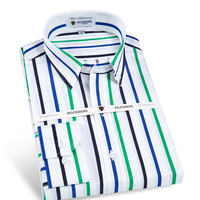 Men S Long Sleeve Contrast Vertical Striped Dress Shirt With Front Pocket High Quality Male Business