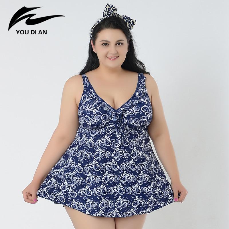 ФОТО Women Plus Size Swimwear 2017 New Hot Sale Girl Plus Size Swimsuit Woman Swimwear One Piece Female Large Size Bathing Suit
