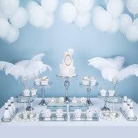 13 17pcs Silver Wedding Dessert Table Wedding Decoration Cake Stand Tray Set mirror tray