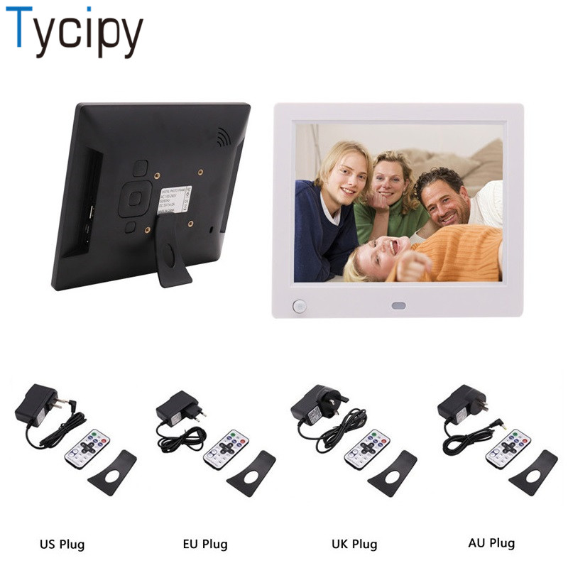 Tycipy 8 Photo Frame Double Sided LCD 808 Digital LED Electronic Screen Photo Frame for Music Mp3 Video Mp4 Clock Calendar
