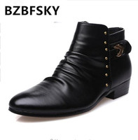 2018 NEW Pointed Toe Ankle Boots For Men Metal Decoration Motorcycle Boots Split Leather Zip Boot High Top Shoes Man