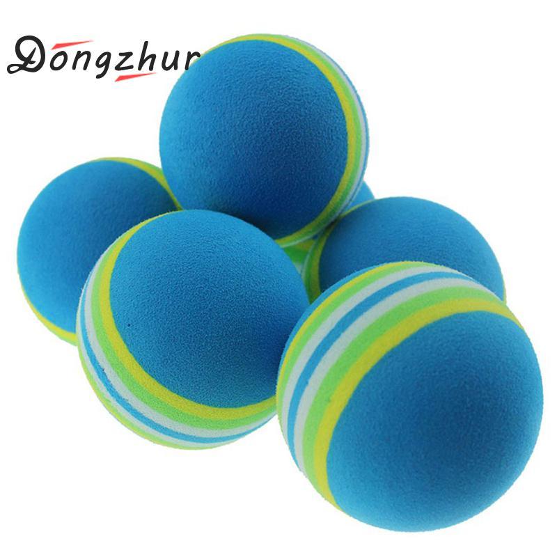 10pcs Blue Striped Indoor Golf Soft Game Ball Golf  Ball Training Practice Elastic Foam Golf Sponge Rubber Balls