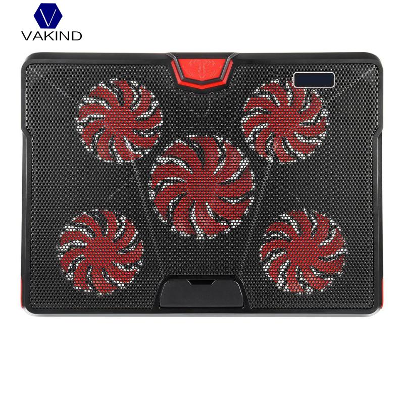 VAKIND DC 5V Laptop Cooler Cooling Fan Pad Mat For 13-17 inch Gaming Notebook With LED Lights 2 USB Ports