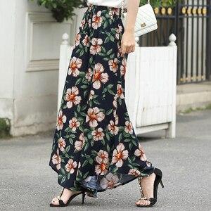 Image 5 - 2019 novas mulheres calças de verão pantalon femme impressão vintage calças femininas meados de perna larga