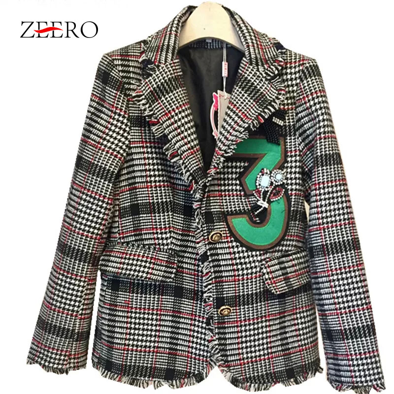 Women Jacket Coat 2018 Small Fragrance Tweed Tassel Plaid Long Sleeve Ladies Turn Down Collar Coat