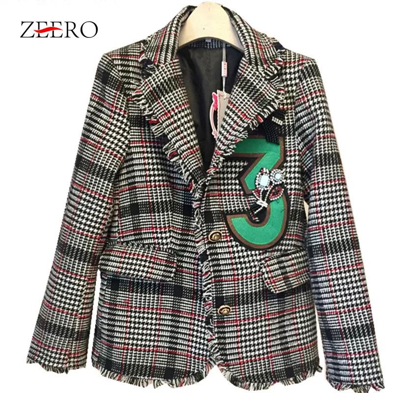 Women Jacket Coat 2018 Small Fragrance Tweed Tassel Plaid Long Sleeve Ladies Turn Down Collar Coat Casual Runway Outerwear-in Jackets from Women's Clothing    1