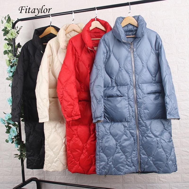 Fitaylor New 2019 Winter Women Ultra Light   Down     Coat   Medium Long Warm Parkas Stand Collar Long Sleeve Zipper Loose Outerwear