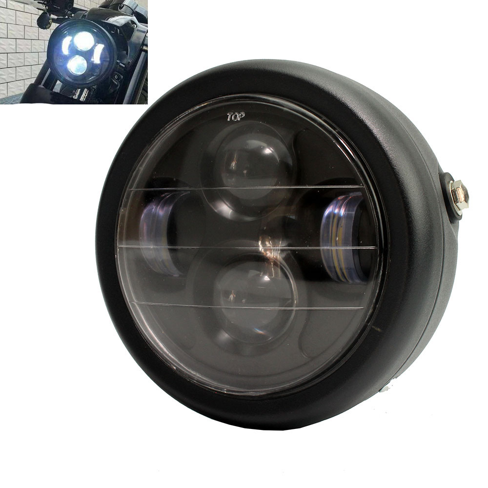 Black Universal 6.5 Motorcycle LED Projection Cafe Racer Headlight  For Harley Bobber Choppers HALO Ring Honda Yamaha Black Universal 6.5 Motorcycle LED Projection Cafe Racer Headlight  For Harley Bobber Choppers HALO Ring Honda Yamaha
