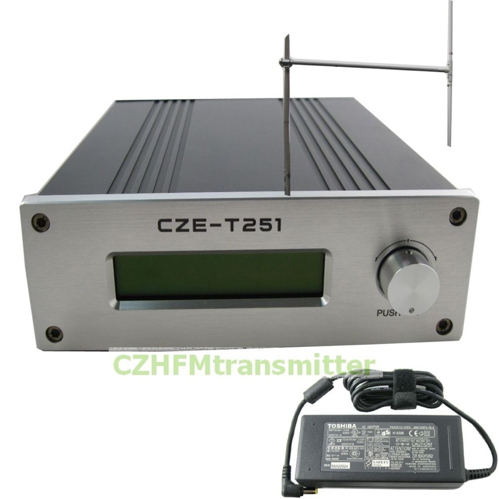 CZH CZE-T251 0-25W power adjustable Professional FM stereo broadcast transmitter +1/2 wave dipole antenna  kit cze 7c 7watt stereo lcd broadcast radio station fm transmitter 12v adapter antenna cable
