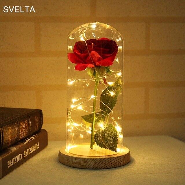 Svelta Atmosphere Lamp Led Night Light Silk Red Rose Gl Lampshade Diy Home Decor Table
