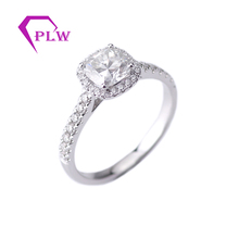 Provence Jewelry 14K White Gold  1 ct 6*6 mm D Color Cushion Cut Moissanite Diamond Halo Ring Engagement Ring For anniversary