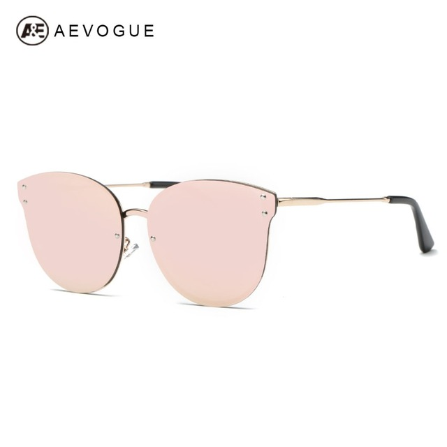 AEVOGUE Sunglasses Women Vintage Rimless Cat Eye Brand Designer Copper Frame Classic Sun Glasses With Box UV400 AE0433