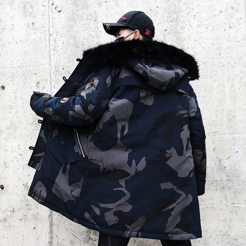 2018 moda invierno nueva chaqueta de piel para hombre abrigo cálido moda Casual Parka medio largo abrigo grueso para el invierno-in Parkas from Ropa de hombre    1