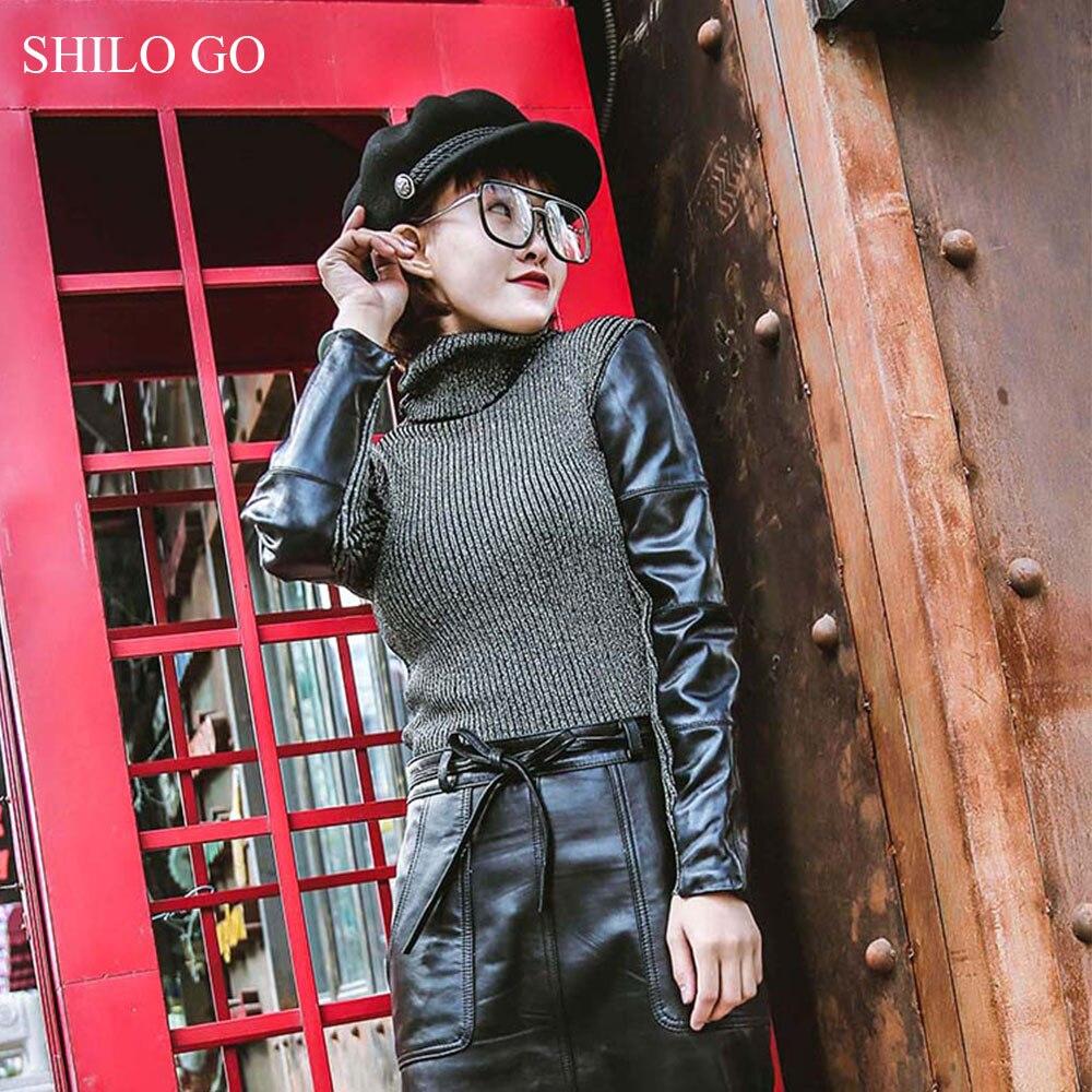 Cuero Slim Genuino Primavera Cuello Oveja Alto 2 De Para Blusas Manga Moda Blusa Piel Larga Mujer 1 HBxpqOgwd