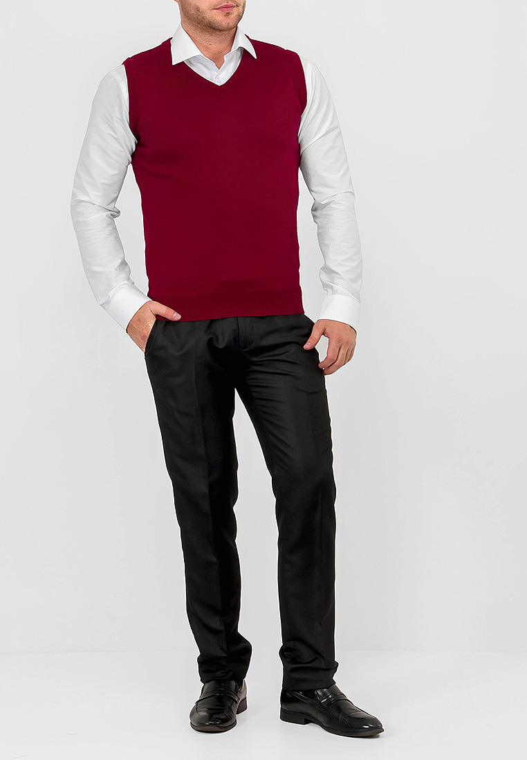 Vest male CASINO c125 Burgundy Wine Red long side parting wavy wine red highlight synthetic wig