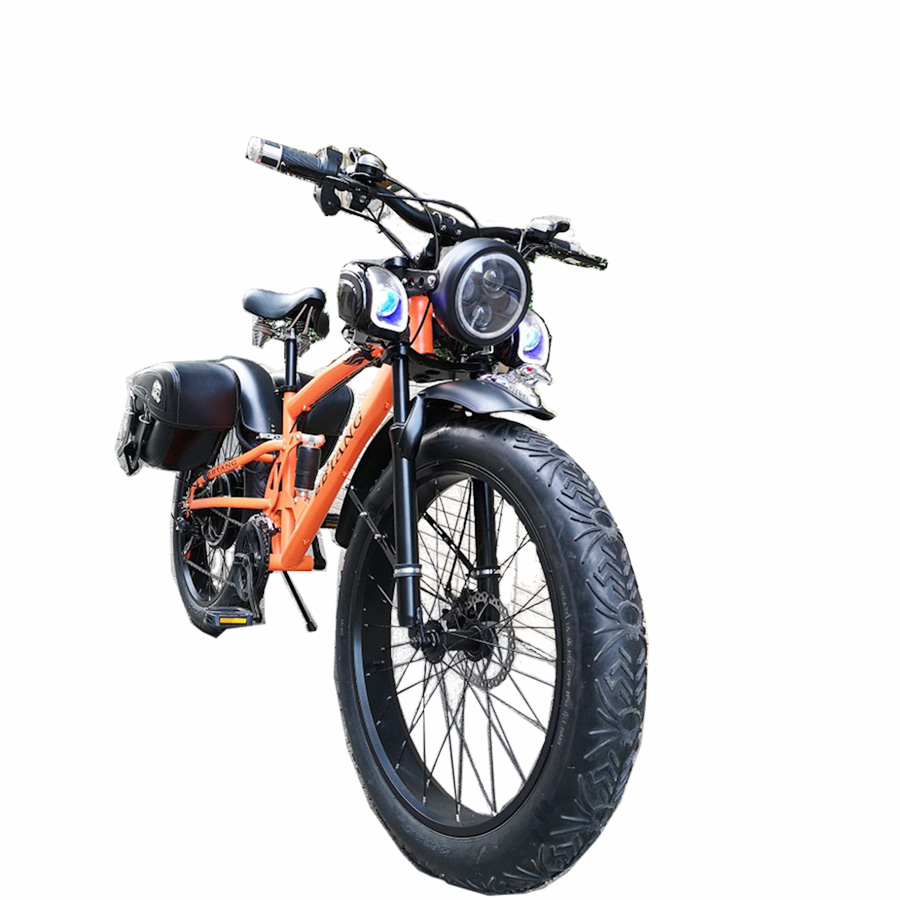 Custom 26inch snow electric mountain bicycle 48V 1000W lithium battery e-motor fat ebike 4.0 tires electric bike Soft tail snow