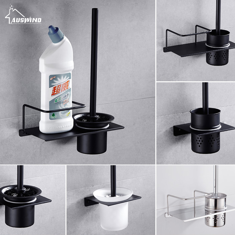 304 Stainless Steel Toilet Brush Holder Polished Black Stand Free Punching Toilet Brush Holders Bathroom Accessories Sets  HY