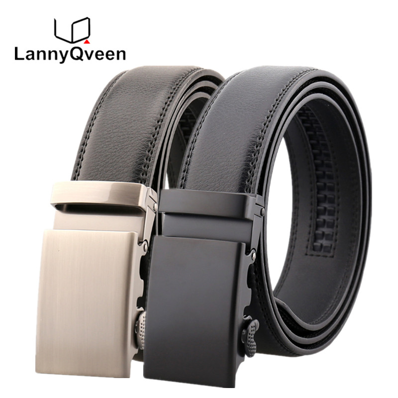LannyQveen brand fashion cow Leather Belt men's Automatic belts for men alloy buckle business quality wholesale free shipping