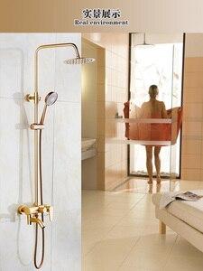"""Image 3 - Dofaso lüks gül altın bakır duş musluk banyo antika duş seti 8 """"yağış duş seti banyo pirinç duş bataryası"""