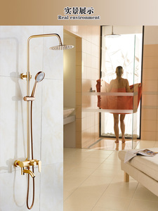 "Image 3 - Dofaso luxury Rose Gold copper shower faucet Bathroom antique Shower Set 8"" Rainfall shower kit bath brass shower mixer"
