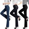 Promoção de alta qualidade das mulheres meados cintura fina jeans de corte de inicialização meninas moda de sino calças de fundo guarda frete grátis
