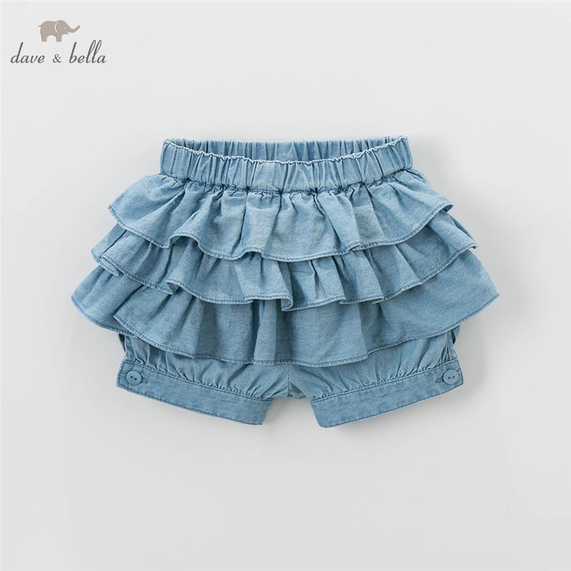 DB4852 dave bella summer baby girls shorts floral knickerbockers bow bloomers denim shorts bloomers