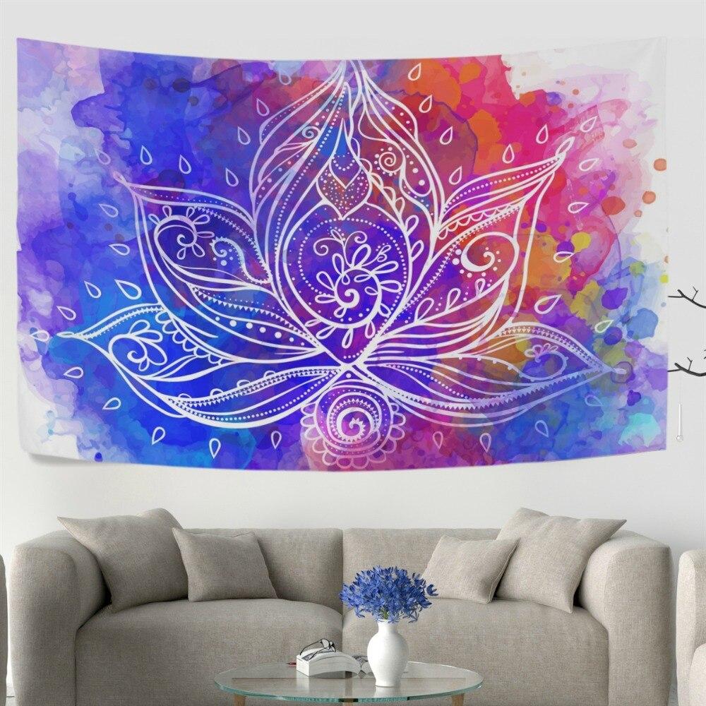Bohemia Style Lotus Flower Geometric Wall Tapestry Dorm Throw Bedroom Room Decorative Window Doorway Hanging Curtain