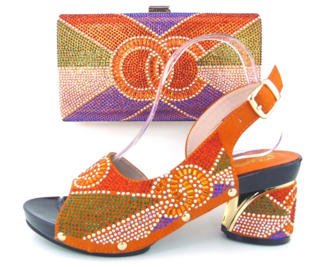 2017 Italian Shoes With Matching Bag High Quality Italy Shoe And Bag set For wedding and party orange,Free Shipping ! MLQ1-13