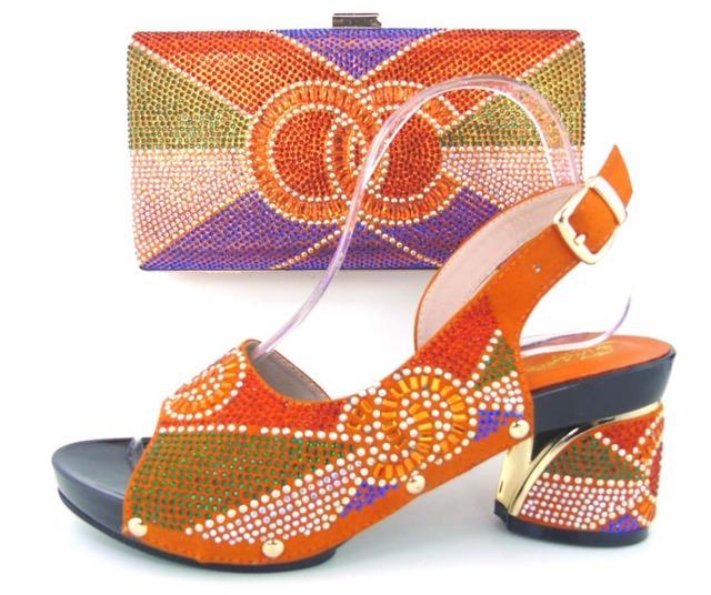 2017 Sapatos Italianos Com Correspondência Bolsa de Alta Qualidade Itália Sapato E Bolsa de conjunto Para O casamento e festa laranja, Livre grátis! MLQ1-13