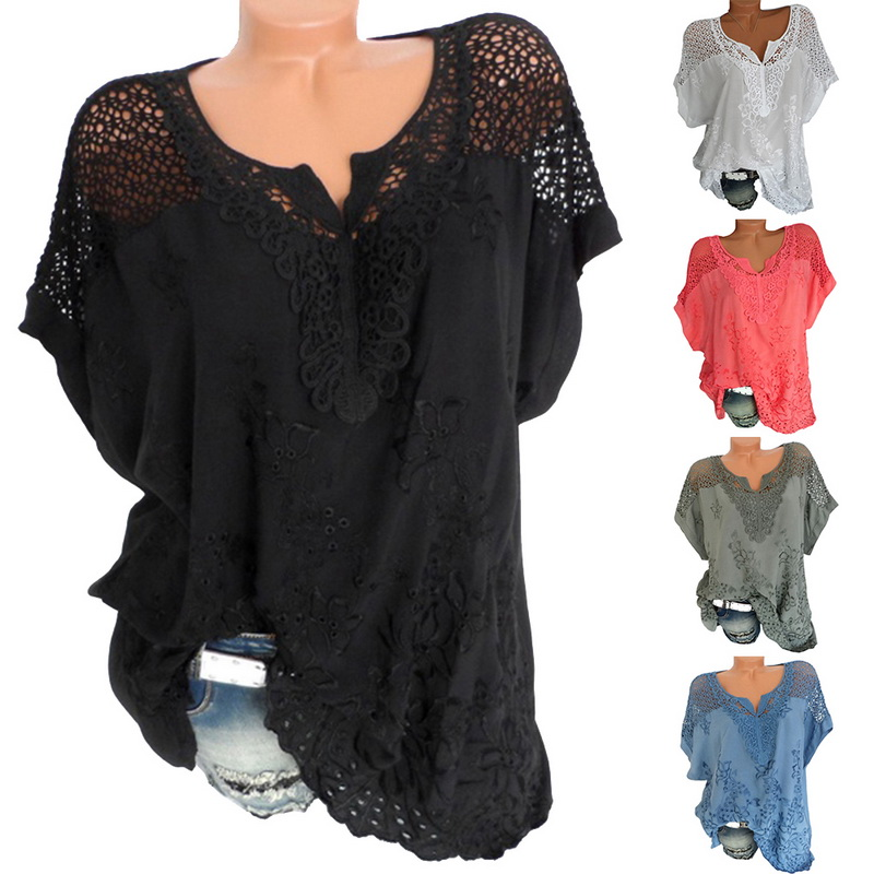LASPERAL Plus Size 5XL Sexy Women Blouse Lace Hollow Tunic Tops 2018 Summer Short Sleeve Lady Office Shirt Casual Loose Blusa 1