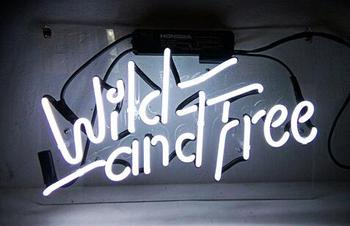 Wild and Free Glass Neon Light Sign Beer Bar