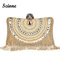 Women Wedding Party Shoulder Bags Gold Clutch Purse Bags Tassels Evening Bag for Bridal Day Clutches Wallet Woman Handbags MX