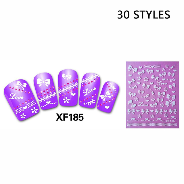 30pcs style 3d design tip nail art nail sticker nail decal carving white snow flower cat