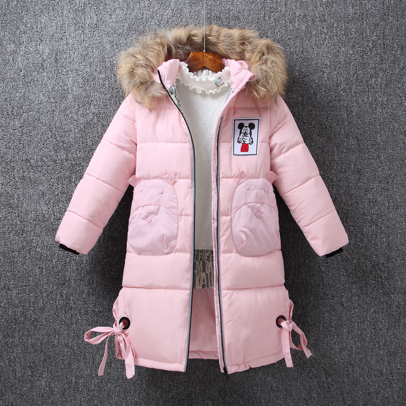 The new girl. Down jacket in the long section of the Chinese children's thick fur collar removable cap down direct winter coat 2018 new girls in the winter of the south korean version of the thick down jacket with a long coat in the hair collar and jacket