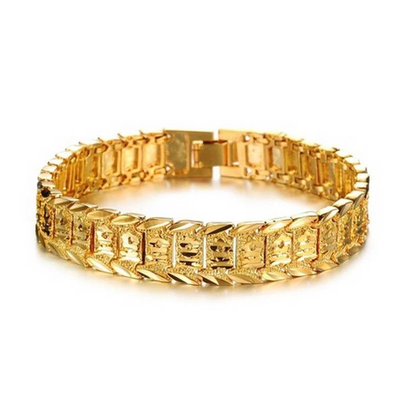 Men Bracelet Charm Men Jewelry Gold Bracelet Alloy gold color ...