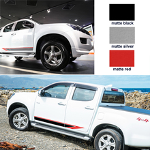 Car exterior 2 PC racing side door two colors stripe graphic Vinyl sticker for  isuzu dmax 2012 2015 2017