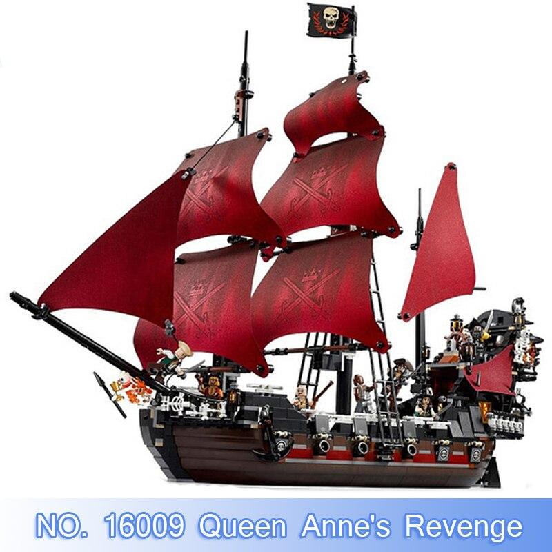 Lepin Movie Figures 16009 Pirates of The Caribbean Queen Annes Revenge Building Blocks Bricks Set Toy Model Kit Compatible 4195