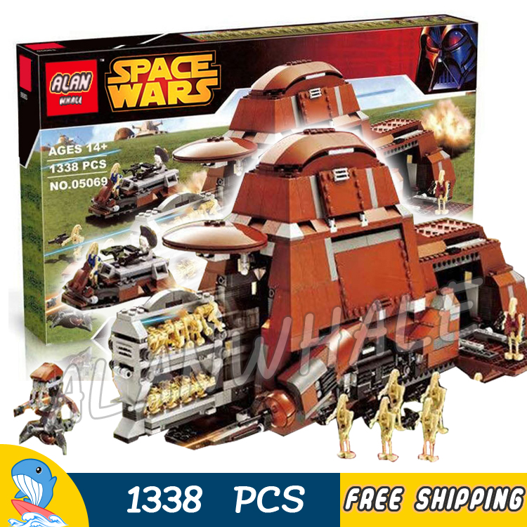 1338pcs New Space Wars Trade Federation MTT 05069 Security Battle Droid Model Building Blocks Bricks Toys Compatible With Lego gonlei 10374 new starwars battle droid troop carrier model building blocks kid toys gifts figure boys compatible with