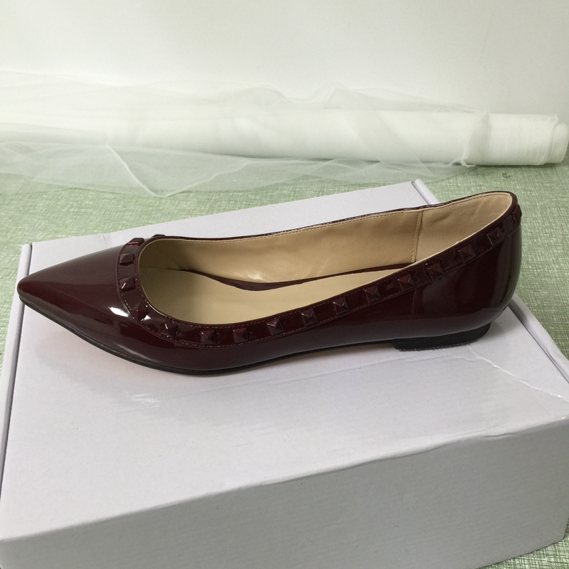 Wine Red Pointed Toe Women Flat Heels Shoes Rivets Custom Colors Slip-On Lady Shoe Flats Oxford Shoes For Women Flat Shoes cresfimix women cute spring summer slip on flat shoes with pearl female casual street flats lady fashion pointed toe shoes