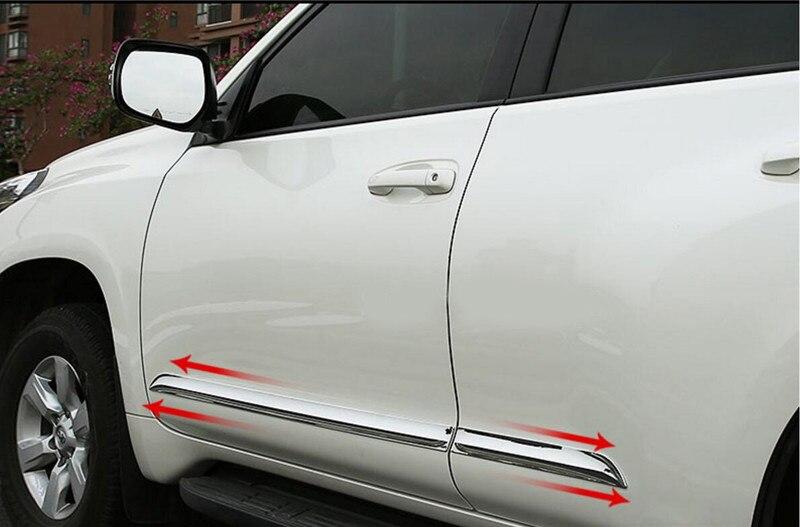 Accessoires de décoration de style de voiture de moulage de revêtement d'habillage latéral de corps de porte d'abs adaptés pour Toyota Prado J150/Land Cruiser LC 150 2010-2018