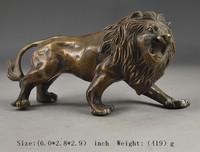 decoration bronze factory Pure Brass Antique Elaborate Chinese Collectible Copper Lion Statue