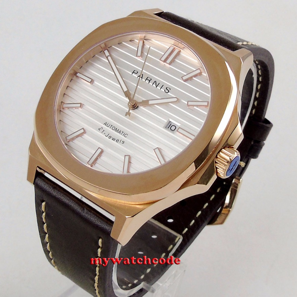 44MM parnis white dial date widnow luminous rose golden case miyota 821A automatic movement mens watch цена и фото
