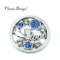 Vinnie Design Jewelry 33mm Fashion Style Baby Feet Love Light Blue Crystal Coin for Frame Pendant