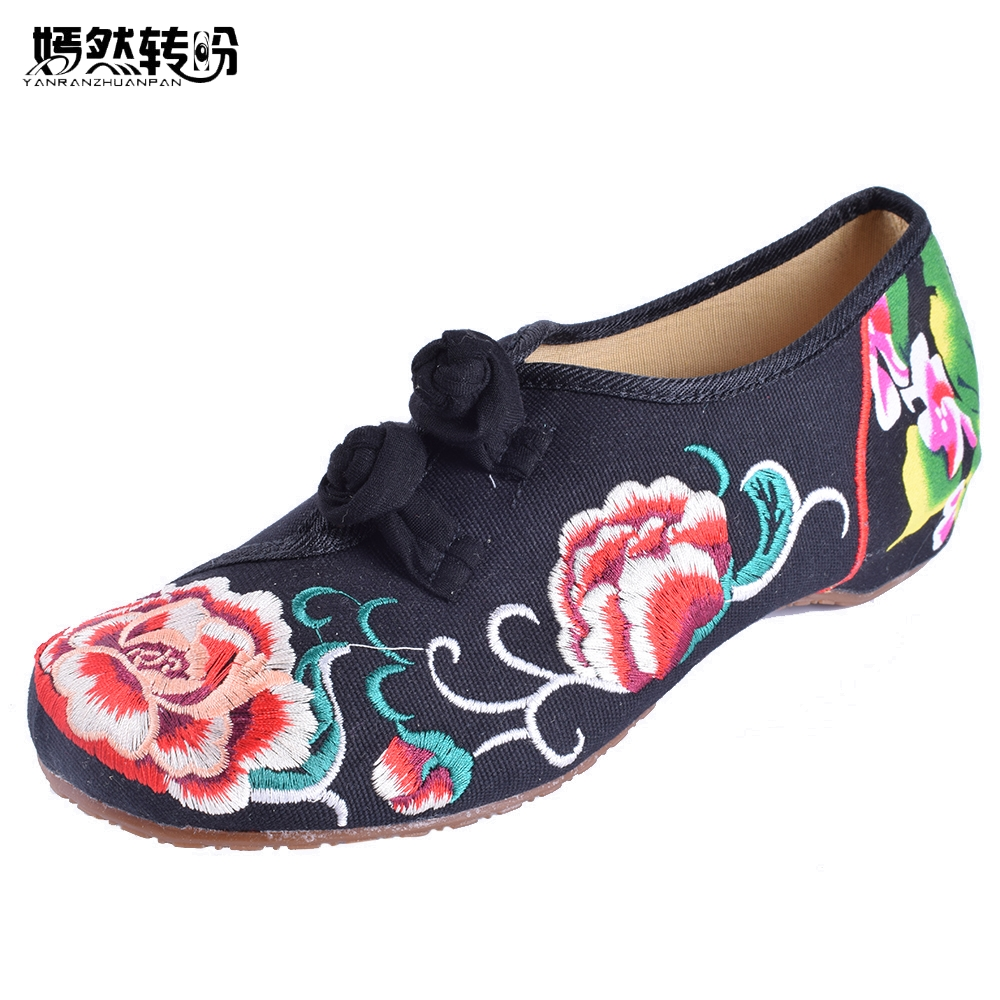 Vintage Women Shoes Old Beijing Mary Jane Flats Casual Chinese Flower Embroidered Cloth Canvas Ballet Shoes Woman Plus Size 41 peacock embroidery women shoes old peking mary jane flat heel denim flats soft sole women dance casual shoes height increase