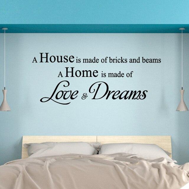 familie ein haus ist aus liebe und tr ume englisch brief zitat aufkleber removable wandaufkleber. Black Bedroom Furniture Sets. Home Design Ideas